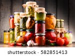 jars with variety of pickled... | Shutterstock . vector #582851413