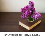 old book  and a dried purple... | Shutterstock . vector #582852367