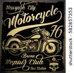 vintage motorcycle. hand drawn... | Shutterstock .eps vector #582857353
