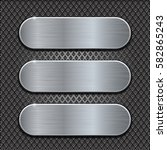 metal brushed plates on... | Shutterstock .eps vector #582865243