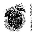 illustration of lime silhouette ... | Shutterstock .eps vector #582865633