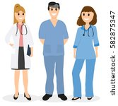group of doctors in a hospital  ... | Shutterstock .eps vector #582875347