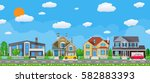 private suburban houses with... | Shutterstock .eps vector #582883393