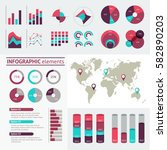 world map infographic. vector... | Shutterstock .eps vector #582890203
