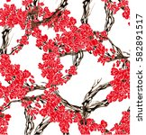 pattern with small red flowers... | Shutterstock .eps vector #582891517