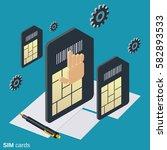 mobile phone sim cards flat... | Shutterstock .eps vector #582893533