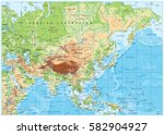 asia physical map with rivers ... | Shutterstock .eps vector #582904927