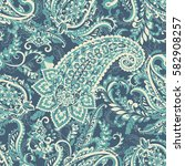 seamless pattern with paisley... | Shutterstock .eps vector #582908257