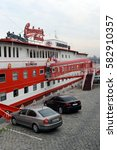 Small photo of PRAGUE, CZECH REPUBLIC - NOVEMBER 26, 2012:The floating Albatros hotel on the banks of the Vltava river.