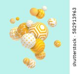 3d yellow geometric balls | Shutterstock .eps vector #582913963