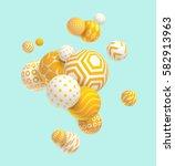3D yellow geometric balls | Shutterstock vector #582913963