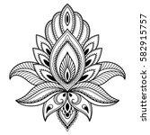 henna tattoo flower template in ... | Shutterstock .eps vector #582915757