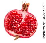 pomegranate isolated on white... | Shutterstock . vector #582915877