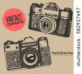 vintage camera hand drawing... | Shutterstock .eps vector #582927697