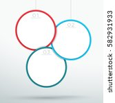 infographic 3 hanging 3d circle ... | Shutterstock .eps vector #582931933