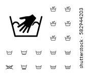 machine washing laundry symbols ... | Shutterstock .eps vector #582944203
