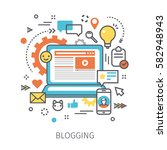 concept of blogging. open... | Shutterstock .eps vector #582948943