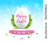 happy easter greetings card... | Shutterstock .eps vector #582950803