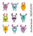 emoji monsters. cute cyclops... | Shutterstock .eps vector #582953593
