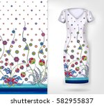 seamless vertical pattern with ... | Shutterstock . vector #582955837