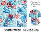 seamless tropical floral... | Shutterstock . vector #582956023