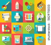printing processes icons set.... | Shutterstock .eps vector #582970033