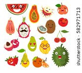 emoticon vector cartoon fruit.... | Shutterstock .eps vector #582971713