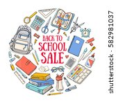 back to school illustration... | Shutterstock .eps vector #582981037