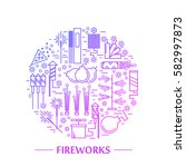 colorful vector fireworks icons ... | Shutterstock .eps vector #582997873