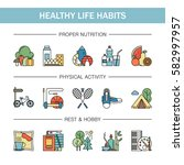 healthy lifestyle habits... | Shutterstock .eps vector #582997957