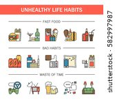 unealthy lifestyle habits... | Shutterstock .eps vector #582997987