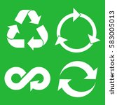 eco cycle arrows icon set.... | Shutterstock .eps vector #583005013