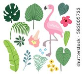 Stock vector summer tropical graphic elements with flamingo bird jungle floral illustrations palm and monstera 583005733