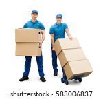 two delivery men with cardboard ... | Shutterstock . vector #583006837