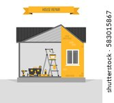 house repair infographics. hand ... | Shutterstock .eps vector #583015867