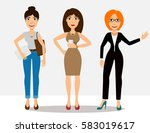 pretty cartoon girls in... | Shutterstock .eps vector #583019617