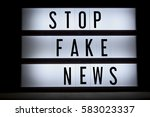 'stop fake news' text in ligtbox | Shutterstock . vector #583023337