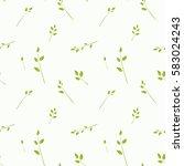 seamless pattern of green twigs ...   Shutterstock .eps vector #583024243