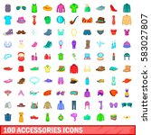 100 accessories icons set in... | Shutterstock . vector #583027807