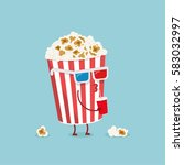 funny cartoon vector popcorn... | Shutterstock .eps vector #583032997