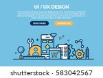 ui ux design concept for web... | Shutterstock .eps vector #583042567