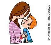 mother and son. vector graphic... | Shutterstock .eps vector #583060627
