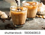 iced coffee with milk ... | Shutterstock . vector #583060813