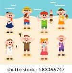 children favorate eat ice cream ... | Shutterstock .eps vector #583066747