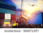 forklift handling container box ... | Shutterstock . vector #583071397