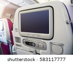 airplane seats blank screen... | Shutterstock . vector #583117777