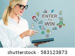 enter to win text with business ... | Shutterstock . vector #583123873