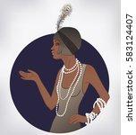 retro fashion  glamour girl of... | Shutterstock .eps vector #583124407