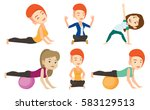 woman exercising with fitball.... | Shutterstock .eps vector #583129513
