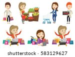 young woman with hands up using ... | Shutterstock .eps vector #583129627